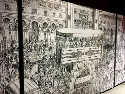 Rycina przedstawiająca wystawienie Całunu Turyńskiego, jest w posiadaniu dynastii Savoia od 1453 roku