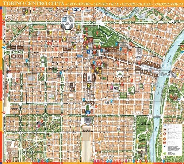 Mapa centrum Turynu