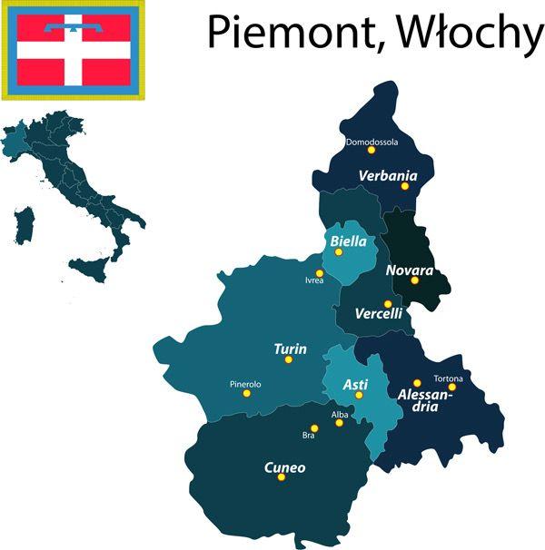 Mapa Piemontu, flaga Piemontu i mapa Włoch