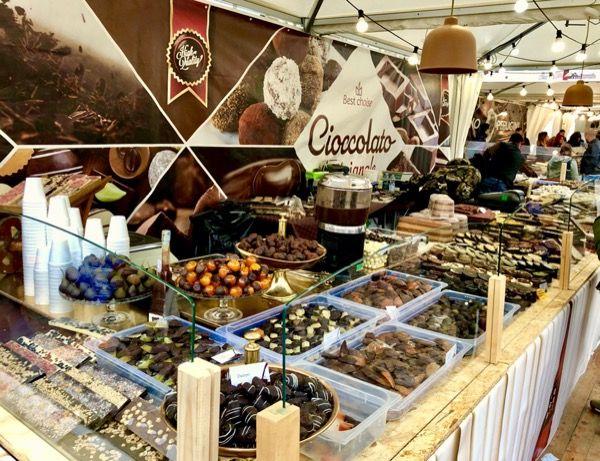 Stoisko na targi czekolady, Turyn włoski Piemont