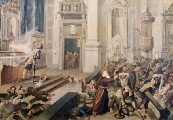 Obraz przedstawiający cud eucharystyczny w kościele na Monte dei Cappuccini w Turynie