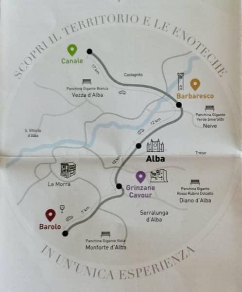 Mapka okolicy Alby gdzie znaleźć można regionalny punkt sprzedaży wina