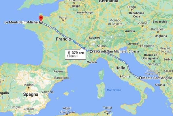 Mapa Europy łącząca sanktuaria poświęcone św. Archaniołowi Michałowi