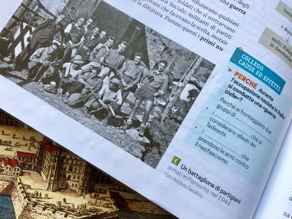 Fragment strony z włoskiej książki do historii dla gimnazjalistów